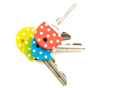 speckles: Four colorful speckles keys isolated over white Stock Photo