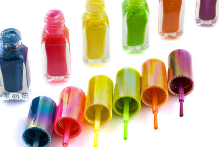 Colorful nailpolish in a row on a white background Stock Photo - 6829906