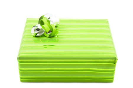 luxery: Green gift box with lint isolated over white