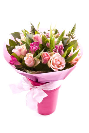 Bouquet with different kind of flowers isolated over white