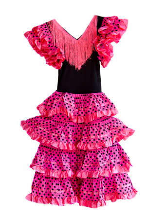 Pink spanish dress isolated on a white background Stock Photo - 7184979