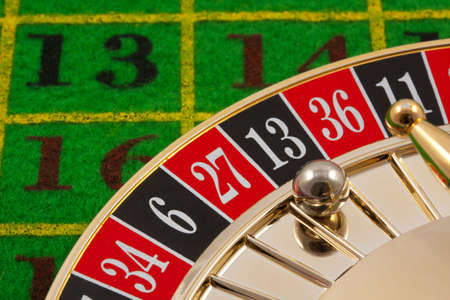 Roulette table with 13 as the winning number Stock Photo