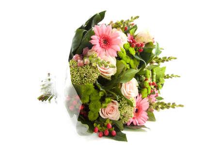 Lovely Bouquet mit anderen Art von Blumen isolated over white  Standard-Bild