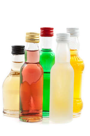 r fine: Different bottles with liquor isolated over white