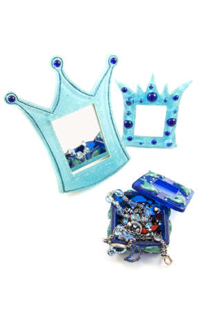 Blue Mirror Crown And Frame With Jewel Box Isolated Over White Stock ...