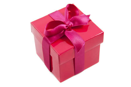 luxery: Red gift box with pink knot isolated over white