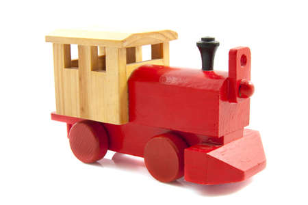 Train made of wood isolated over white Stock Photo