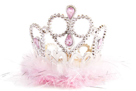 Silver fluffy crown with pink jewels isolated over white Stock Photo
