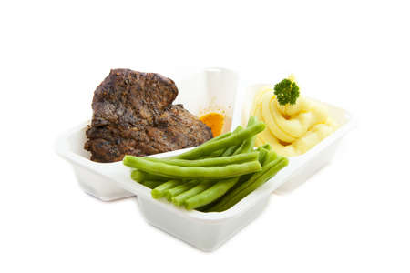 luxery: Special plate with vegetables meat and mashed potato