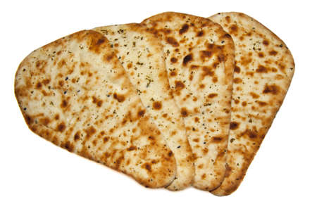 Four fresh naan bread isolated over white Stock Photo