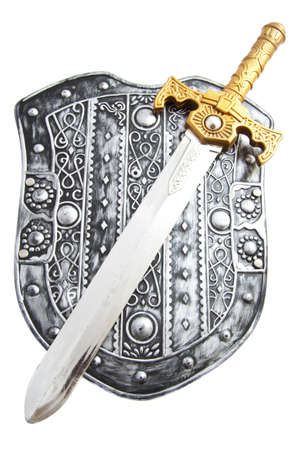 Silver shield with sword isolated over white photo