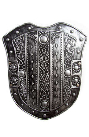 Old silver warrior shield isolated over white photo