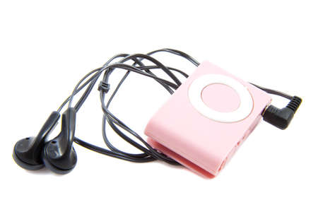 Pink mp3 player with earphones isolated over white