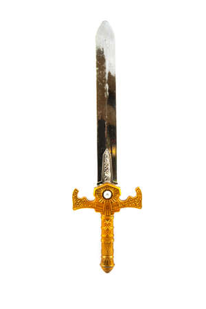Metal used sword of knight isolated over white photo