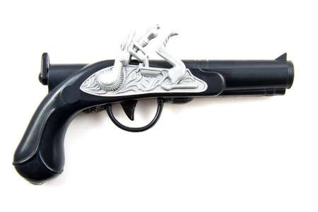 Black silver vintage gun isolated over white photo