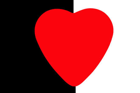 coeur: Red heart on a black and white background