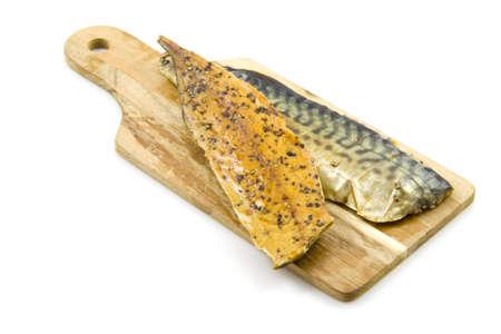 nutriments: Pepper mackerel on plate isolated over white