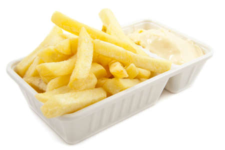 frites: Box with dutch frites isolated over white