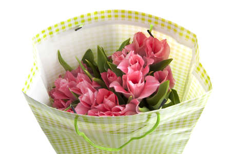 Pink tulips in a green white bag isolated over white Stock Photo - 8808746