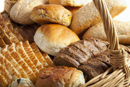 Lots of bread in a rotan basket Stock Photo