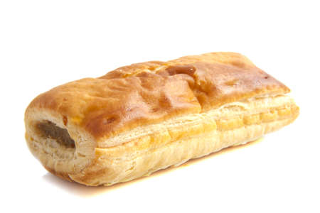 puff: Sausage roll isolated on a white background Stock Photo