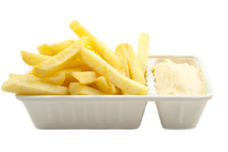 Box with dutch frites isolated over white Stock Photo - 9139041