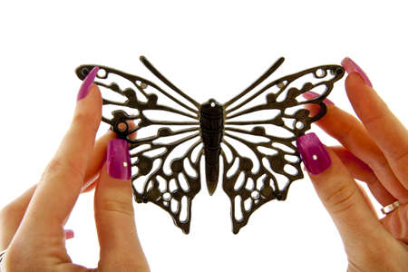 Two female hands holding black fashion butterfly over white