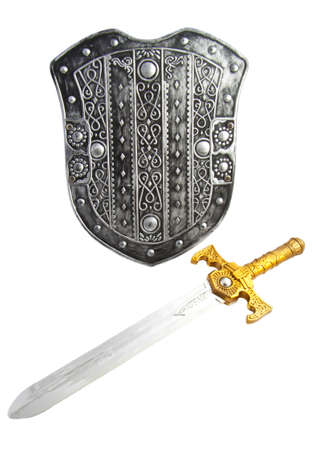Old decorated shield with sword isolated over white Stock Photo
