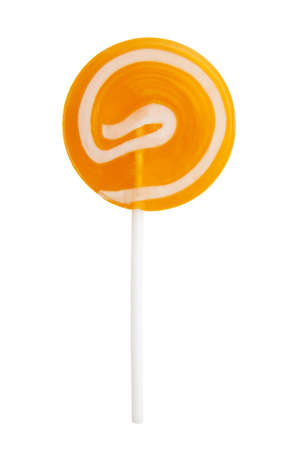 Orange lollypop close up isolated over white photo