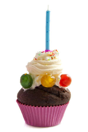 Birthday cupcake isolated on a white background photo