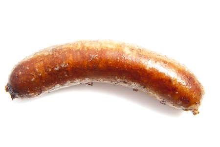 saucisse: Saucisses allemandes isol�es sur un fond blanc
