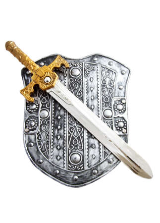 Old shield with sword isolated over white photo