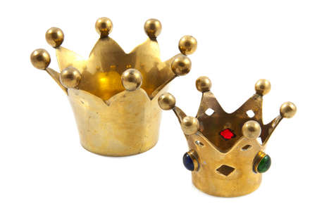 cupper: Two golden crowns isolated on a white background