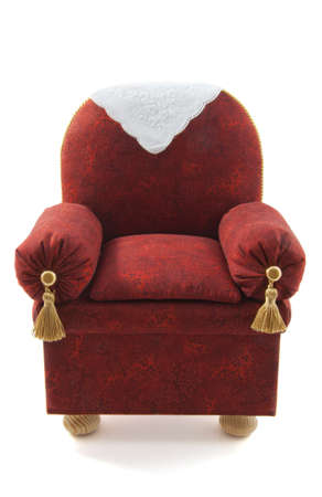 Red brown chair handmade isolated over white photo