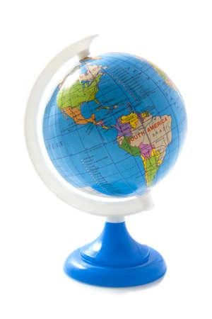 america del sur: Globo azul aislada sobre fondo blanco Foto de archivo