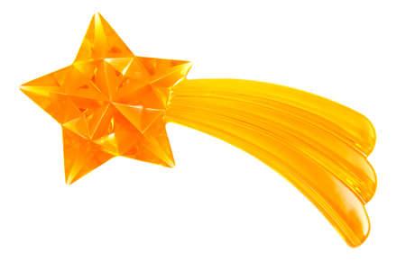 streifzug: Gl�nzend Goldener Stern isolated on a white background