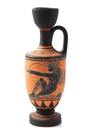 Greek vase with decoration isolated over white photo