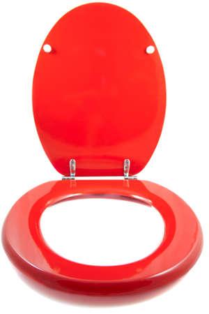 excrement: WC sedile rosso isolato su uno sfondo bianco Archivio Fotografico
