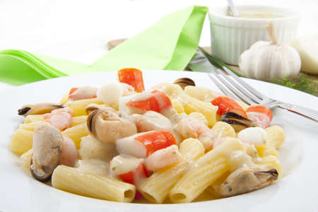 macaroni and cheese: Plate with italian pasta with fruit de mer Stock Photo