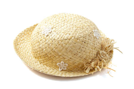 beach wrap: Straw hat with white flowers over white