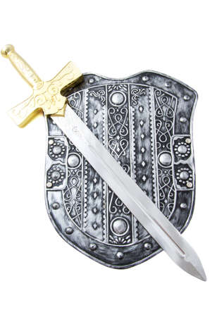 Old shield with gold silver sword over white photo