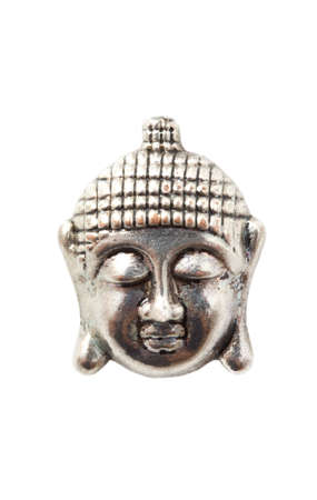 cupper: Silver face of budha isolated over white