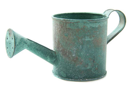 cupper: Old vintage watering can isolated over white Stock Photo