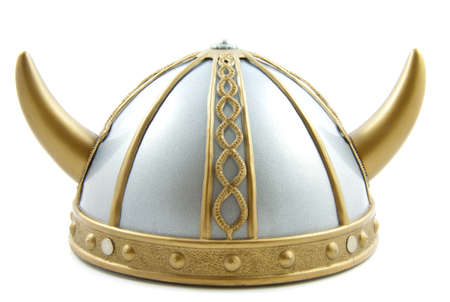 helmet: Decorated old viking helmet on a white background Stock Photo