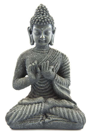 veneration: Gray stone budha on a white background