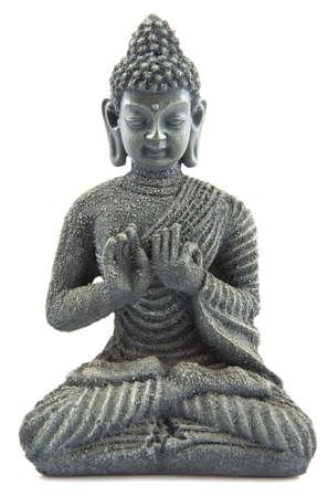 stone buddha: Gray stone budha on a white background