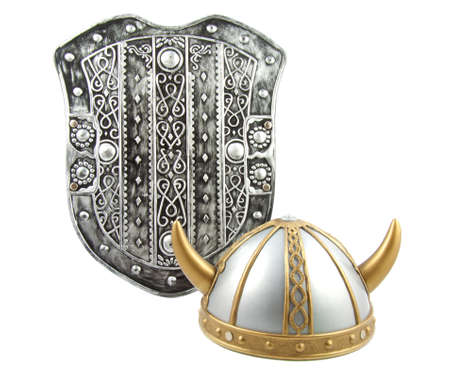 Old shield with old viking helmet on a white background photo