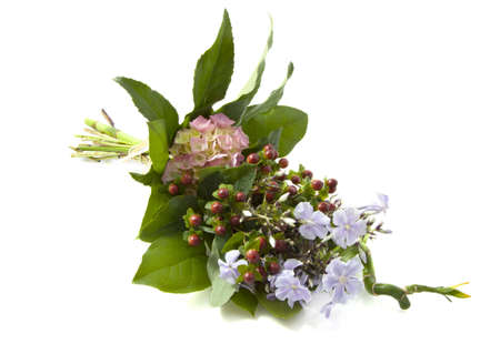mariage: Lovely bouquet with different kind of flowers over white Stock Photo