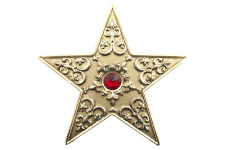 decembe: Star with red gem isolated over white