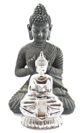 Big Buddha and little Buddha in front over white photo